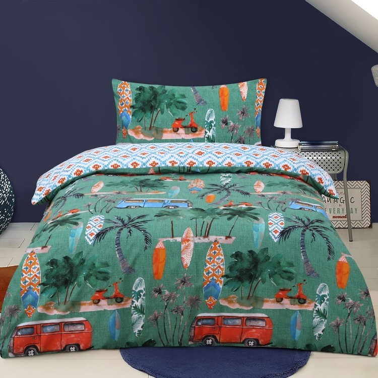 Kids House Surfer Quilt Cover Set Green