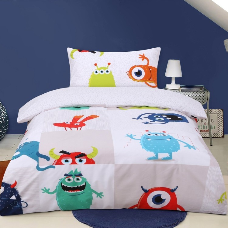 Kids House Monster Mania Quilt Cover Set Grey