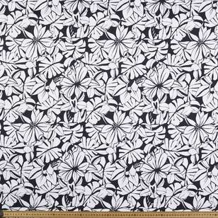 Monotone Floral Printed Cotton Sateen Fabric