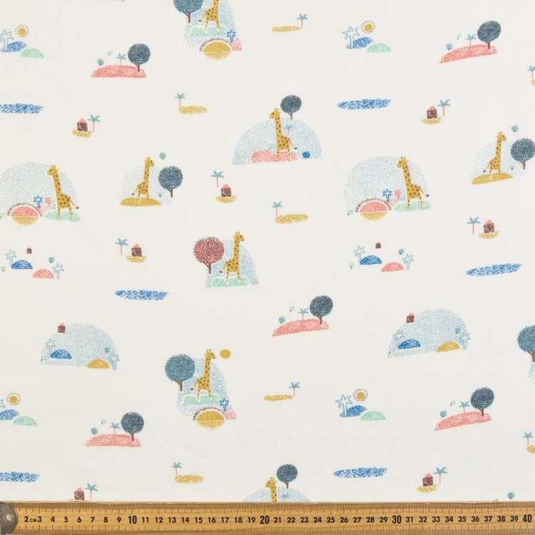 Giraffe Island Printed 138 cm Muslin Fabric