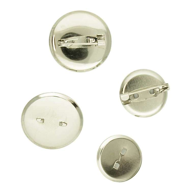 Ribtex Glamour Round Metal Brooch Silver 18 - 24 mm