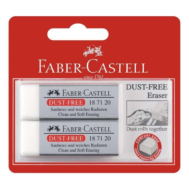 Faber Castell Dust-Free Eraser 2 Pack White Large