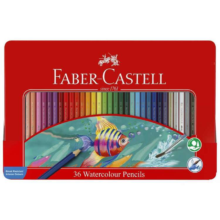 Faber Castell 36 Watercolour Pencil Tin Set
