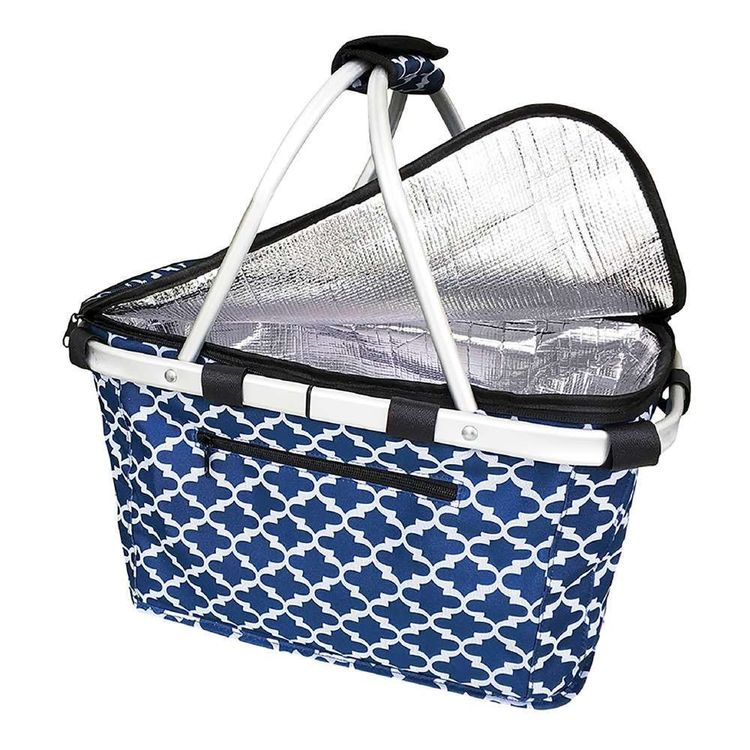 Sachi Moroccan Insulated Carry Basket Blue & White 46 x 29 cm