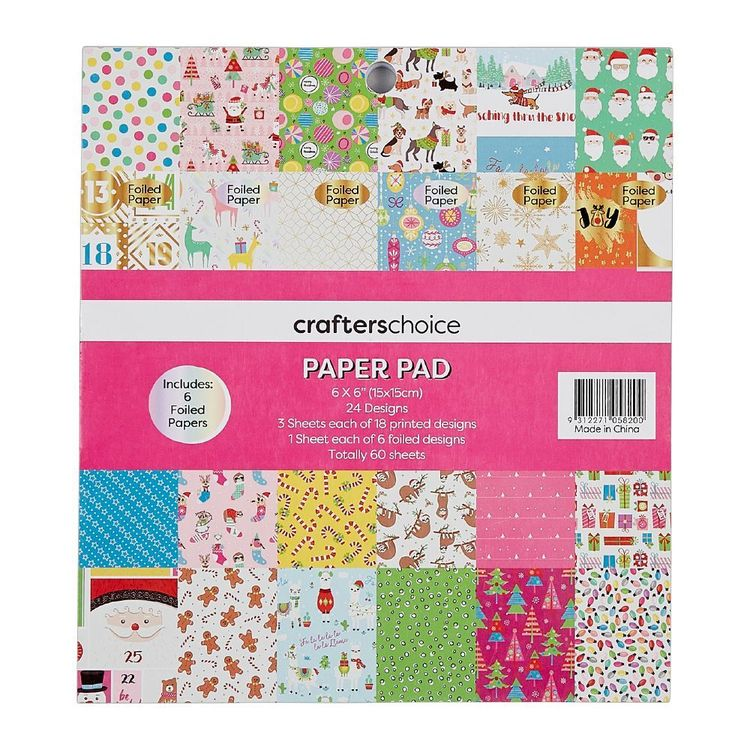 Crafters Choice Festive Pop 6 x 6 in Paper Pad Red
