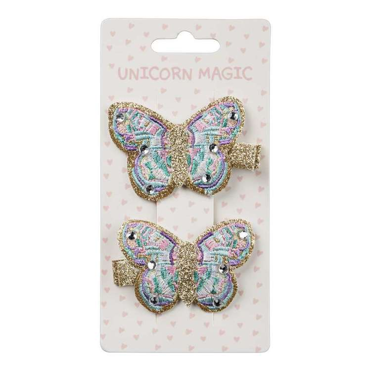 Unicorn Magic Hair Clip Butterfly 2 Pack Multicoloured