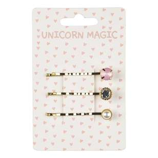 Unicorn Magic Bead Hair Pins 3 Pack