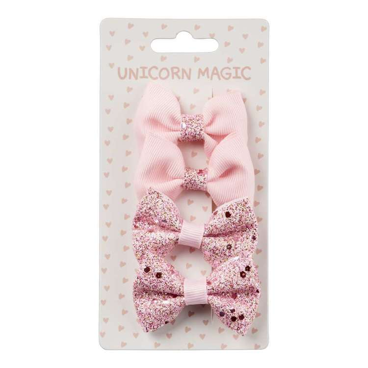 Unicorn Magic Hair Clip Ribbon Bows 4 Pack