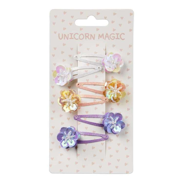 Unicorn Magic Floral Snap Clip 6 Pack