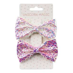 Unicorn Magic Hair Clip Shimmer Bows 2 Pack