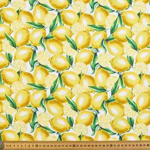 Lemon Digital Printed Organic Cotton Poplin Fabric