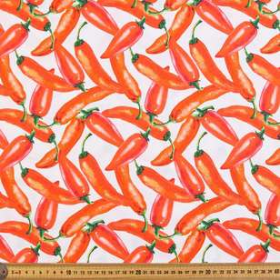Chilli Digital Printed Organic Cotton Poplin Fabric