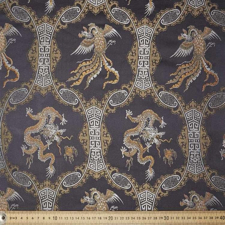 Dragon Printed Oriental Brocade Fabric