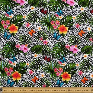Tropical Zebra Printed Montreaux Drill Fabric