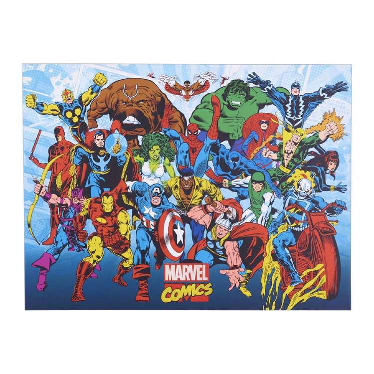 The Art Group Marvel - Retro Running Framed Canvas Multicoloured 60 x 80 cm