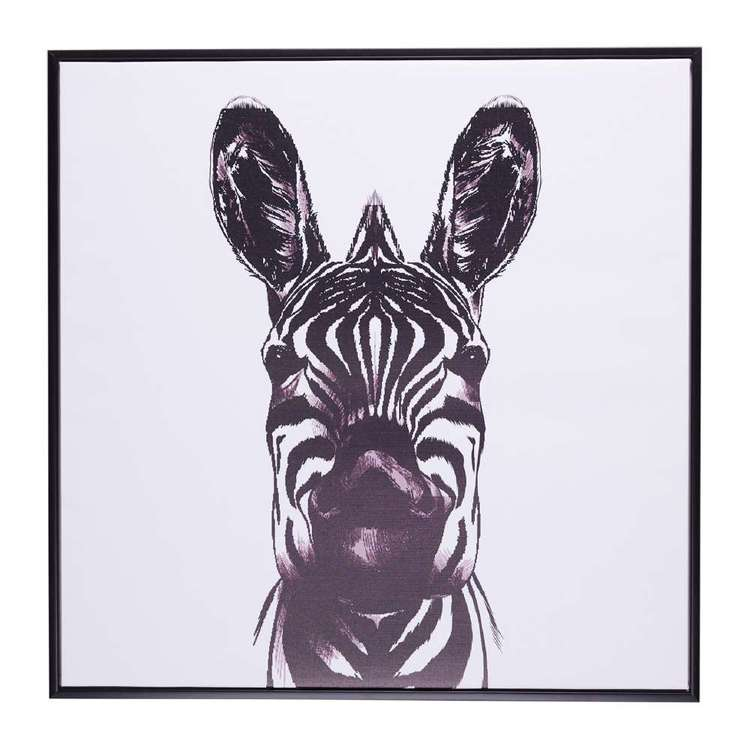 Cooper & Co Zebra Face Framed Canvas Print Black & White 70 x 70 cm