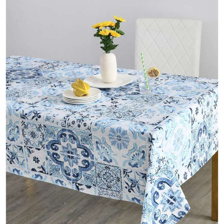 Living Space Tiles Printed Flannel Back Tablecloth