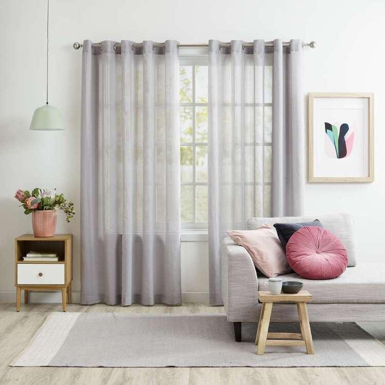 KOO Linton Silver Sheer Eyelet Curtains