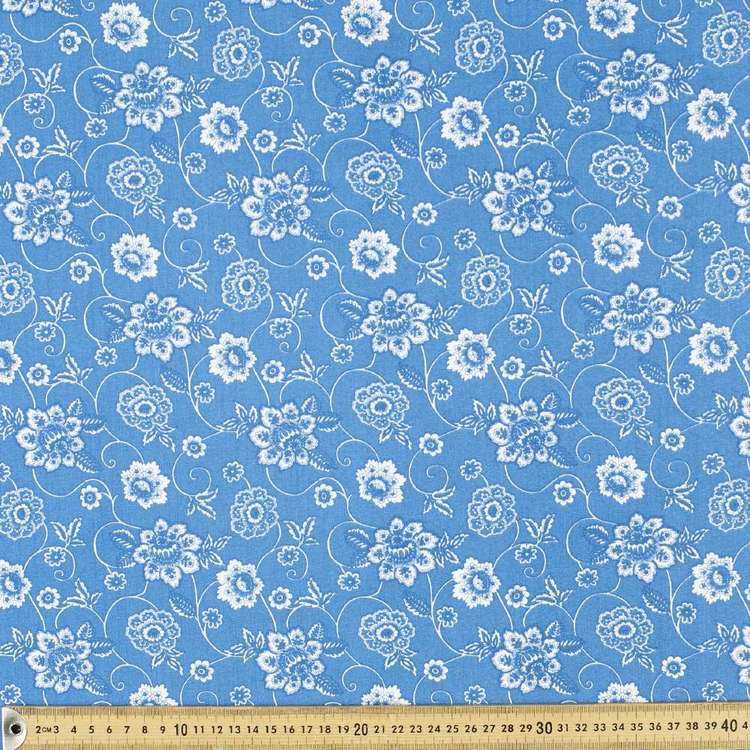 Afina Floral Scroll Cotton Fabric