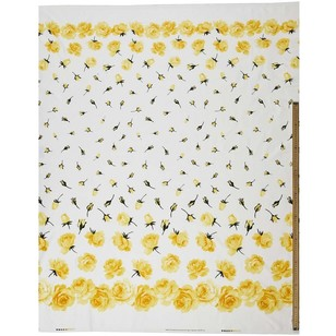 Gertie Yellow Rose Printed Cotton Sateen Fabric