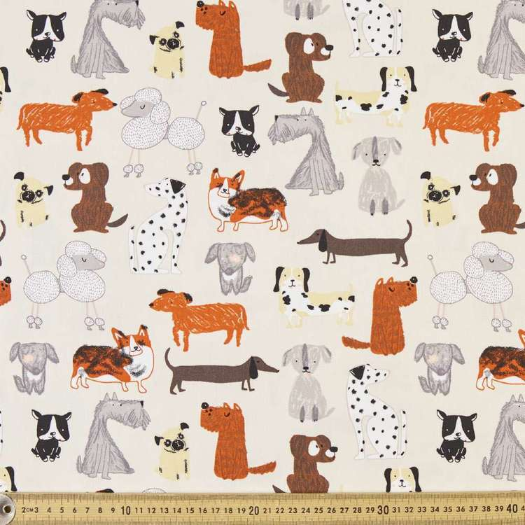 Puppy Parade Printed Montreaux Drill Fabric