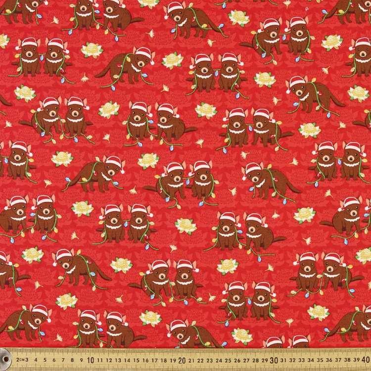 Sugar & Spice Textiles Aussie Christmas Tassie Devil Fabric