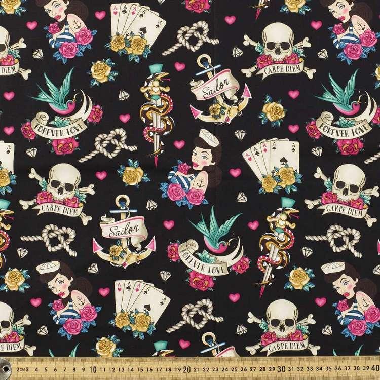 Hey Sailor Printed Stretch Cotton Poplin Fabric