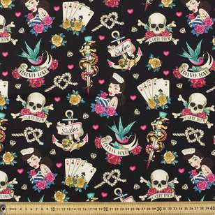 Hey Sailor Printed Stretch Cotton Poplin Fabric
