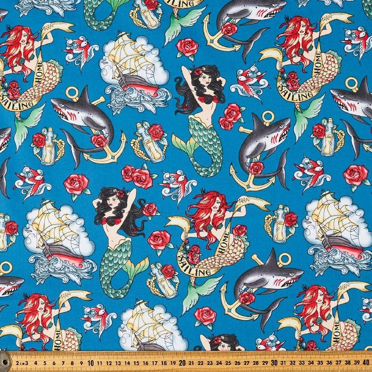 Sailing Home Printed Stretch Cotton Poplin Fabric Teal 148 cm