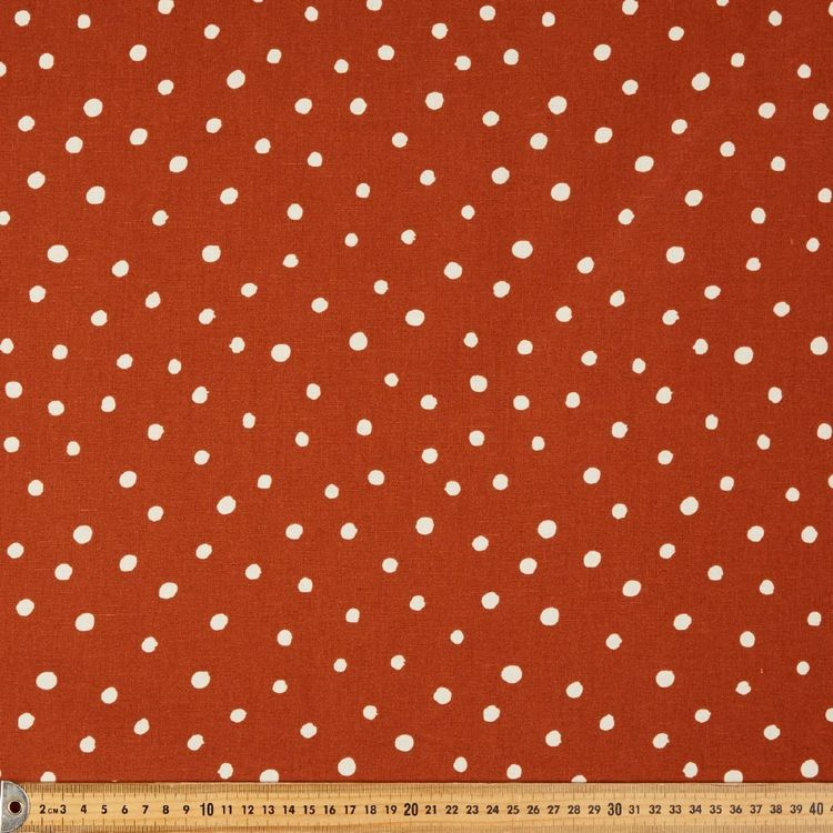 Drops Printed Cotton Linen Fabric Rust 132 cm