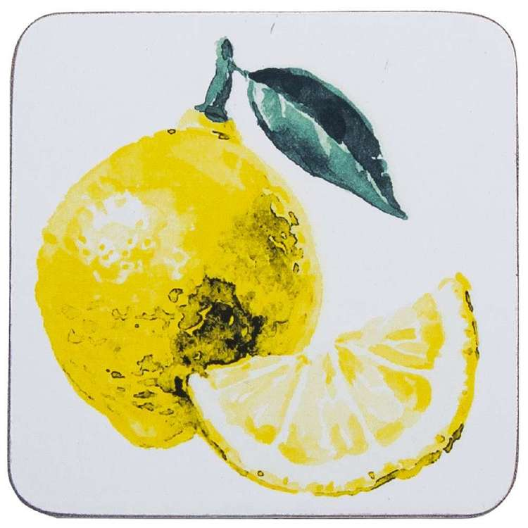Dine By Ladelle Citrus Coasters 4 Pack White 10 x 10 cm