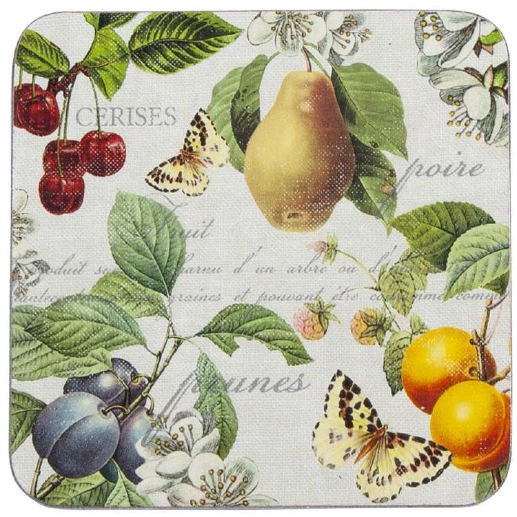 Dine By Ladelle Fruit Coasters 4 Pack White 10 x 10 cm