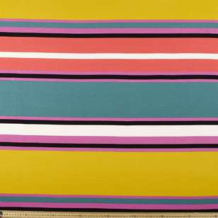 Multi Stripe Rayon Spandex Knit Fabric