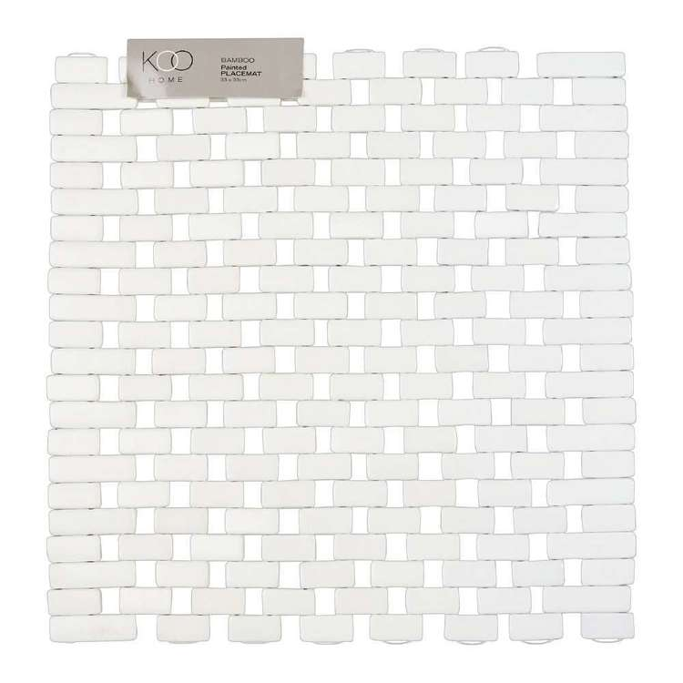 Koo Home Sqaure Bamboo Placemat White 33 x 33 cm