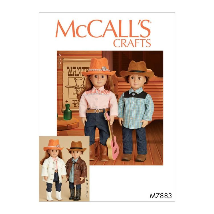"""McCall's Pattern M7883 Clothes, Hat and Belt For 18"""" Doll"""