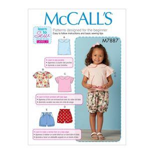 McCall's Pattern M7887 Learn To Sew For Fun Toddler's Tops and Shorts