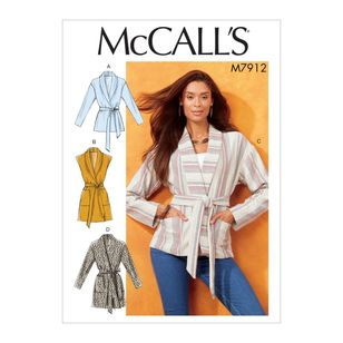 McCall's Pattern M7912 Nicole Miller Misses' Jackets, Vest and Belt
