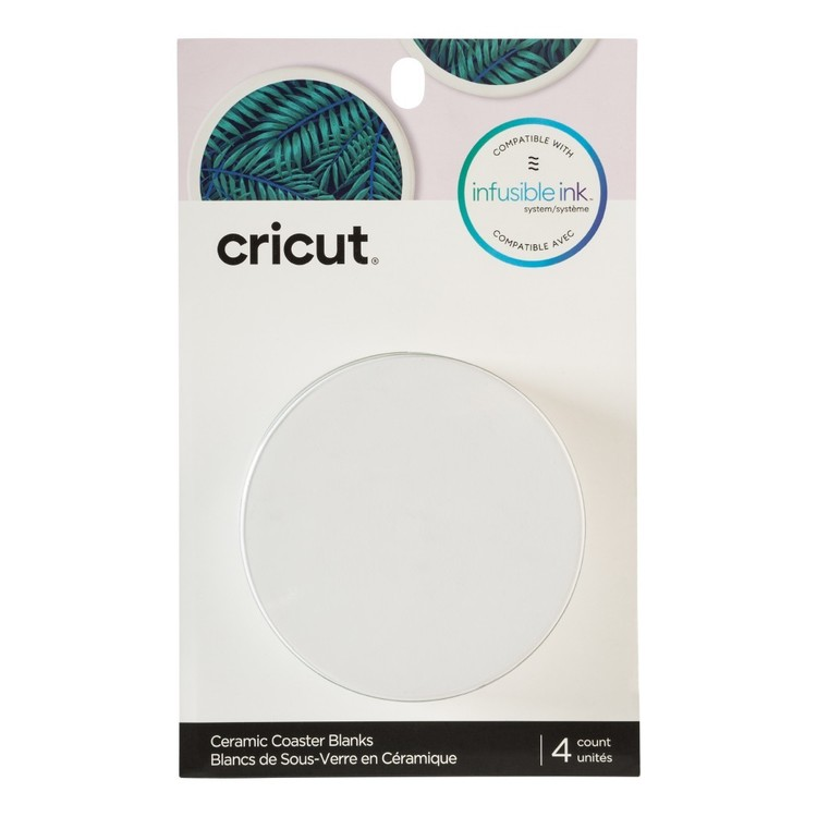 Cricut Infusible Ink Blank Ceramic Round Coasters 4 Pack White
