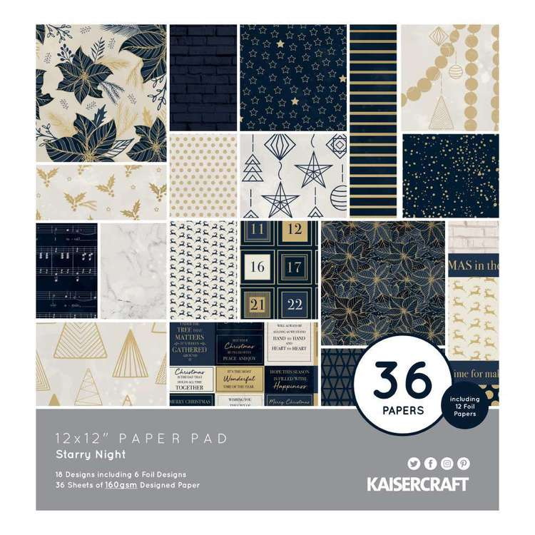 Kaisercraft Starry Night 12 x 12 Inches Paper Pad Multicoloured