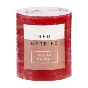 Living Space Red Berries Pillar Candle