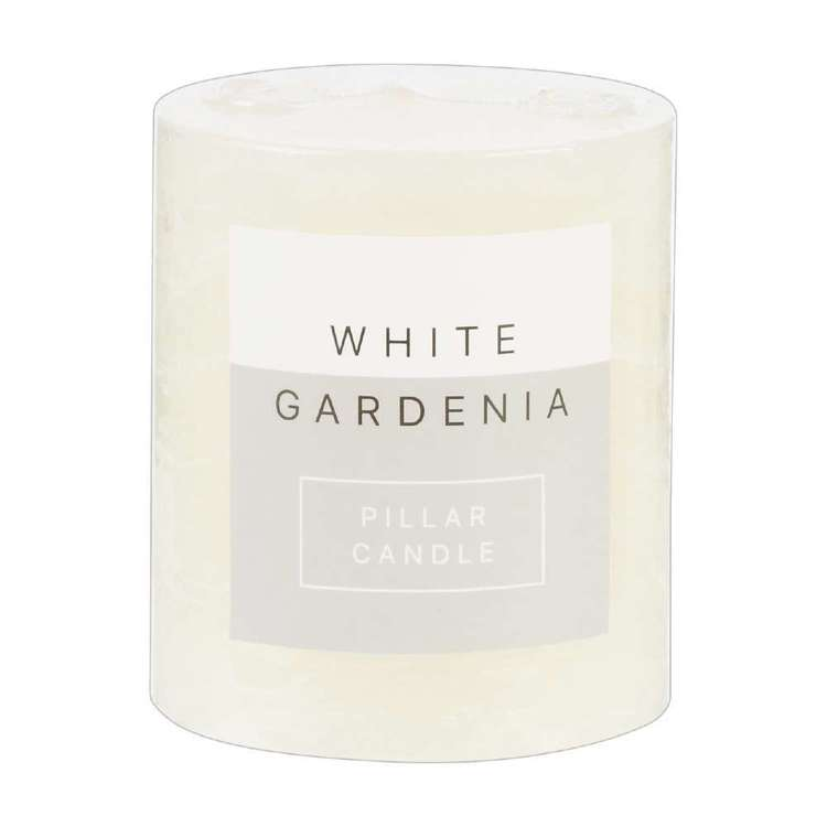 Living Space White Gardenia Pillar Candle