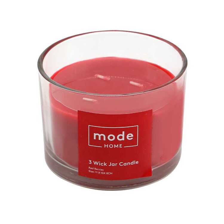 Mode Red Berries 3 Wick Scented Candle Jar Red Berries 11 x 10 x 8 cm