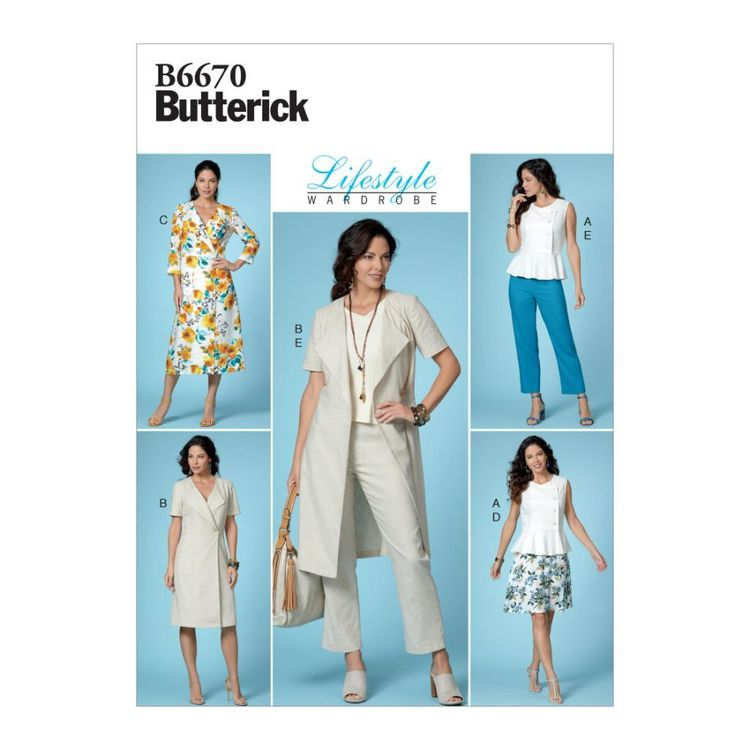 Butterick Pattern B6670 Misses' Top, Dress, Skirt and Pants