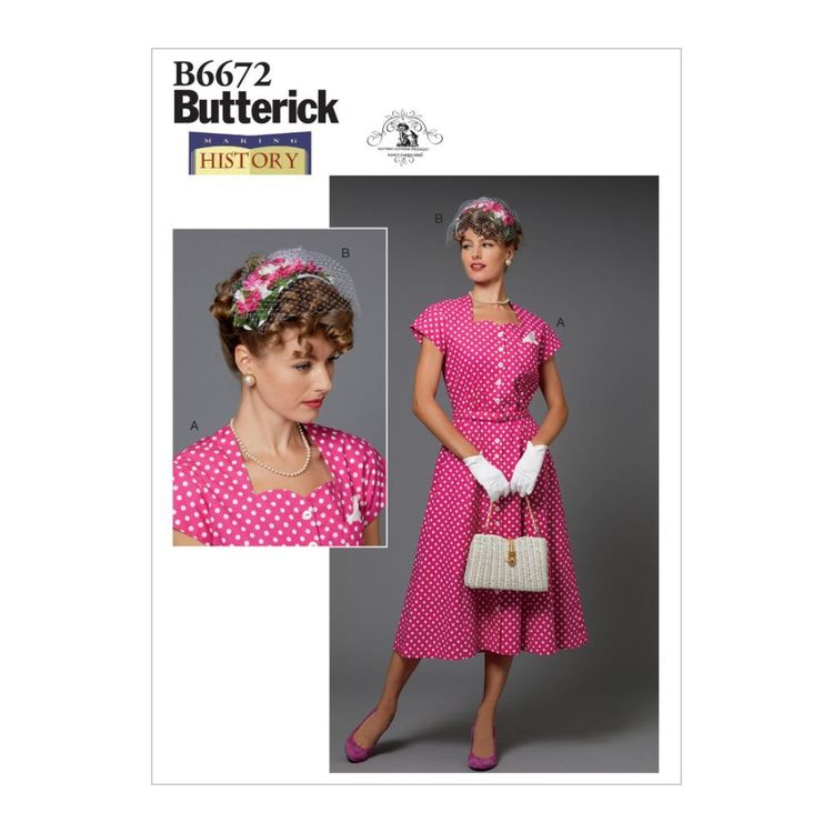 Butterick Pattern B6672 Nancy Farris-Thee Making History Misses' Costume and Hat