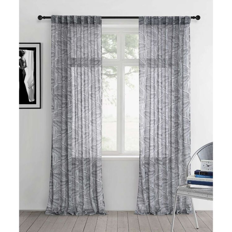 KOO Botanical Linear Tranglee Concealed Tab Top Curtains