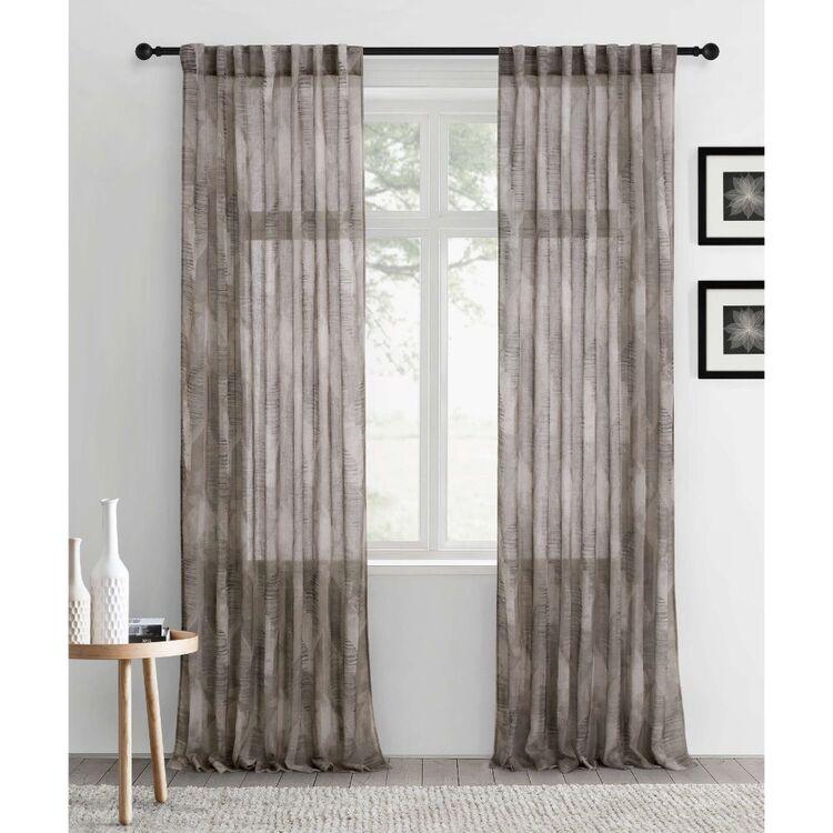 KOO Botanical Textured Geo Concealed Tab Top Curtains