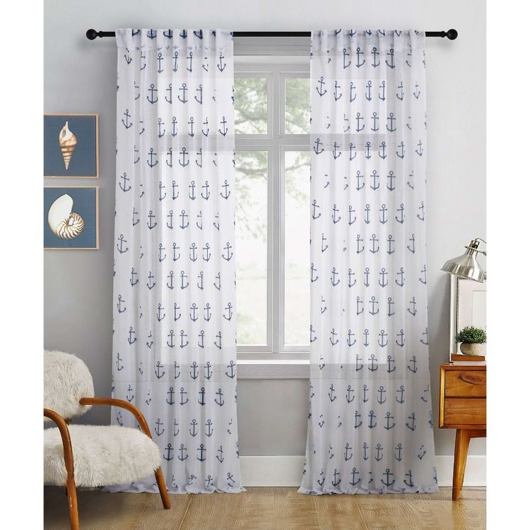 KOO Botanical Anchor Concealed Tab Top Curtains