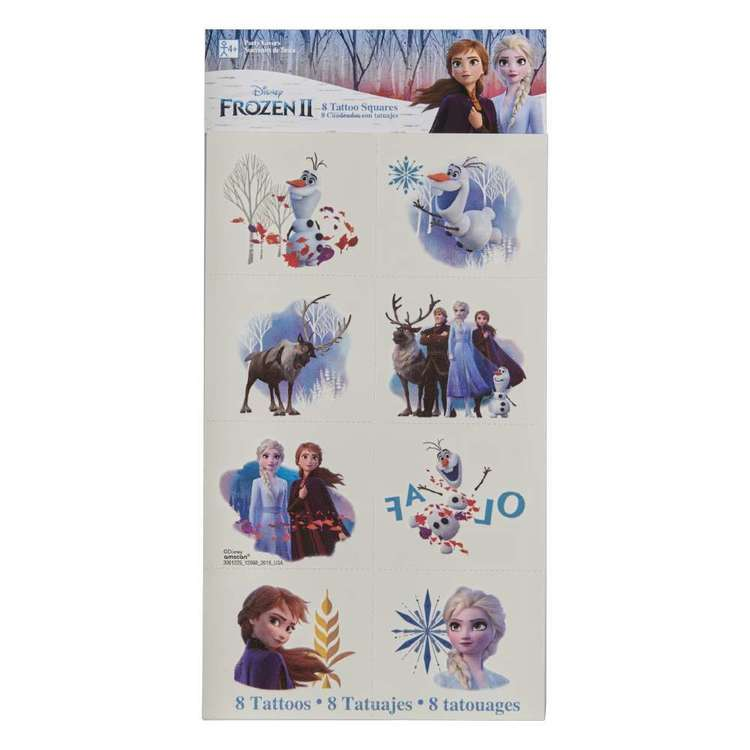 Frozen 2 Tattoos 8 Pack Multicoloured