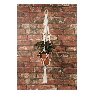 Solid Oak Macrame Four Rings Plant Hanger