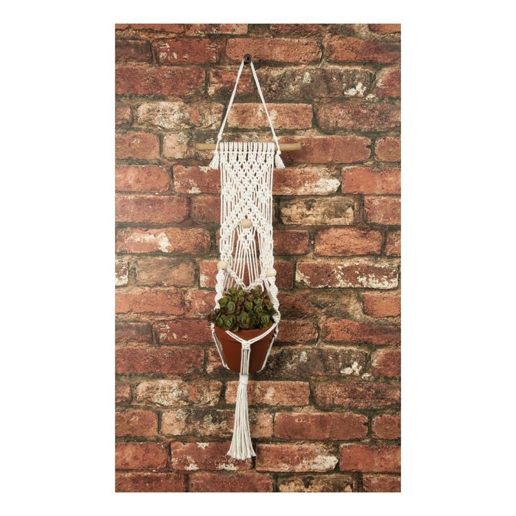 Solid Oak Macrame Three Beads Plant Hanger
